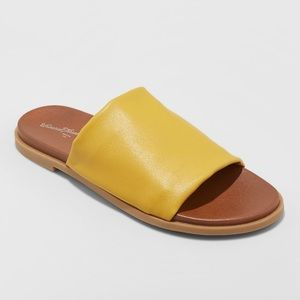 Women's Slide Sandals Mustard Cognac Summer Shoe